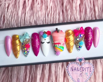 NAILED IT! Hand Painted False Nails - Unicorn Luxe