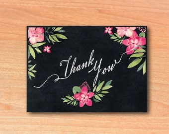 Thank you Notes Pink Floral | You Print Thank you Notes Instant Download