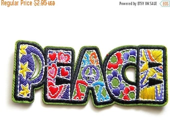 HALF PRICE Embroidered Word Peace - Iron or Sew On LARGE Applique