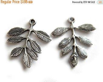 HALF PRICE 2 Large Silver Leaf Connectors