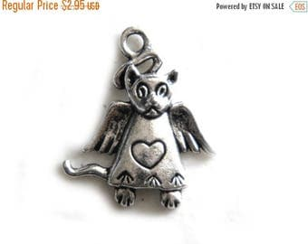 HALF PRICE 10 Silver Angel Cat Charms - 25mm