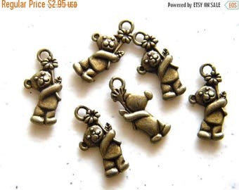HALF PRICE 6 Bronze Teddy Bear Charms