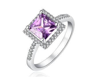 Created Amethyst with Created White Sapphire Ring Rhodium Plated Brass