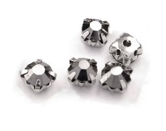 10 crystals set 5 mm dark grey