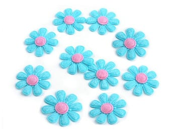 10 turquoise blue felt daisies pink 27 mm