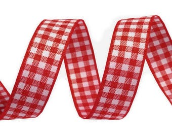 3 M 16 mm red white checkered gingham Ribbon