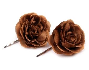2 flowers in Brown satin hair clip