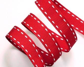 Grosgrain 15 mm red stitching
