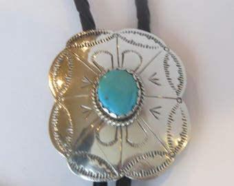 Vintage  Harry Spencer  Navajo  Sterling Silver Turquoise  Flower Shield  Bolo Tie IC Lot 16