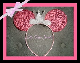 Sparkly Pink Princess Crown Minnie Mouse Ears Birthday Crown Tiara Headband with Silver Pearl Crown Fits Adults and Children Ready to Ship