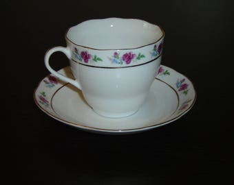 Pink Rose blue flower border cup and saucer VGU