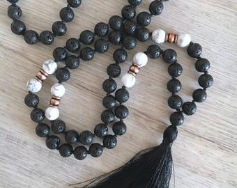 Solstice Mala ~ Black Lava Stone & Howlite ~ Hand Knotted Mala Necklace, 108 Bead Mala, Meditation Beads, Tassel Necklace, Yoga Necklace