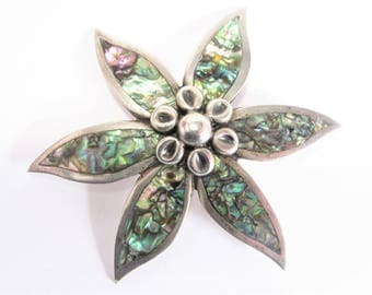 Vintage Mexican Taxco Sterling Abalone Flower Brooch