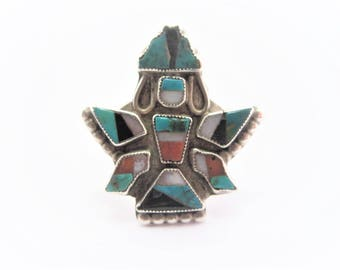 Vintage Native American Zuni Sterling Inlay Knifewing Ring Size 6.75