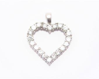 Vintage Sterling Cubic Zirconia Heart Pendant