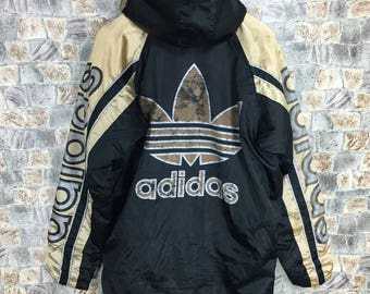 ADIDAS Bomber Jacket Medium Vintage 90's Adidas Trefoil Gold Logo Sportswear Apparel Adidas Sport Black Hoodie Parka Jacket Size M