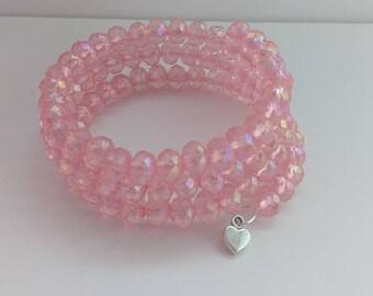 Sister gifts, pink bangle, girl bracelet, girl jewelry, pink jewelry, kawaii bracelet, kawaii jewelry, birthday gift, ladies bracelet,