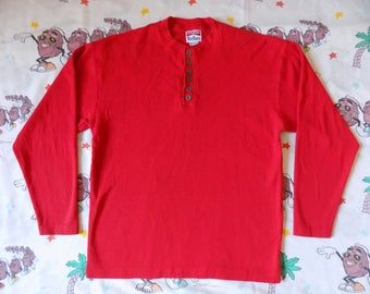Vintage 90's Marlboro Unlimited Thermal Henley Shirt, size Large cigarettes smoking Promo