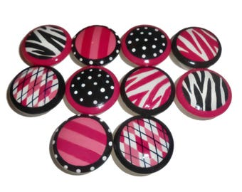 10 Custom Girls Pink Zebra Wild Print Hand Painted Drawer Pulls Knobs