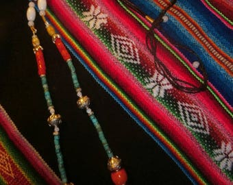 "necklace ""Navajo Collection"" Bohemian, Native American spirit, bamboo coral and turquoise"