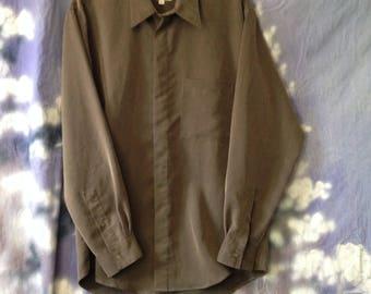 V077 Alfani mens brown long sleeve button down shirt size S