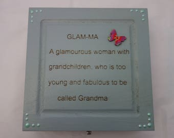 Glam-Ma  text design decoupage wooden box, for jewellery, keepsakes, or treasured items.