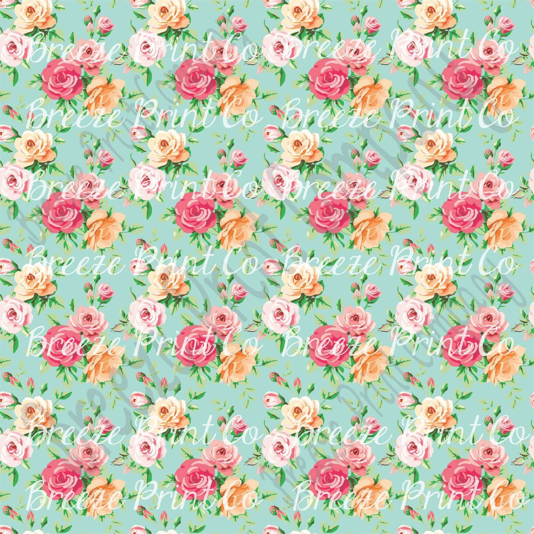 Rose floral heat transfer or adhesive vinyl sheet with mint for Rose adesive