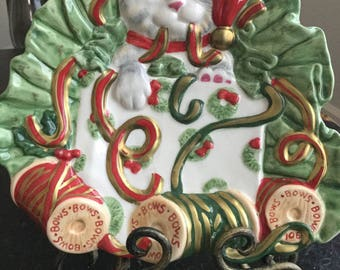 Fitz & Floyd  Essentials  Kitty Kringle canapé/candy plate