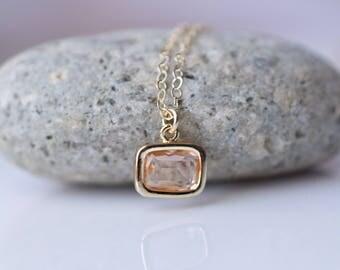 Small Peach Pendant Necklace