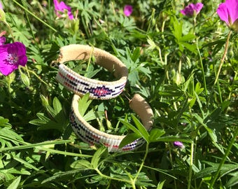 Purple and Pink Beaded Hoops