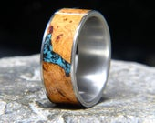Black Cherry Burl Turquoise Inlay Titanium Wedding Band or Unique Gift Ring
