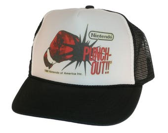 Vintage Nintendo Punch out hat Trucker Hat snap back adjustable one size fits most black