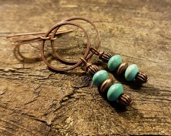 Boho Earrings, Turquoise Earrings, Copper Earrings, Dangle Earrings