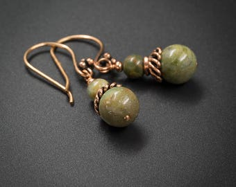 African green opal and copper drop earrings, handmade semiprecious stone earth tone green opal indian copper boho earrings , libra earrings