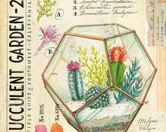 Terrarium Print, Cactus Illustration, Succulent Decor, Succulent Art, Cactus Art, Cactus Print, Succulent Print