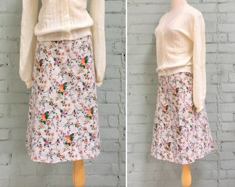 SALE 1970s floral print skirt / 70s a-line midi skirt / 1970s beige cotton skirt / size medium