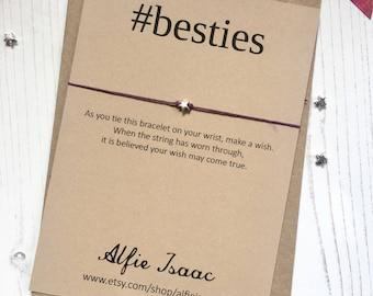 Wish Bracelet - #besties sentiment card with envelope