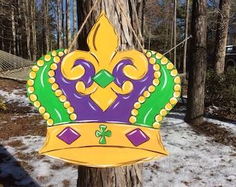Mardi Gras Crown Door Hanger, Door Wreath, New Orleans, NOLA, King's Crown