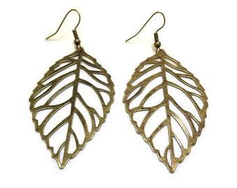 SALE! Large Leaf Earrings, Bronze Leaf Earrings, Boho Earrings, Nature Earrings, Nature Jewelry, Leaf Jewellery,Hippie Earrings,Gift for Her