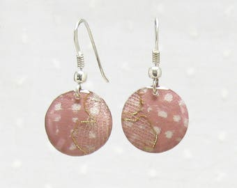 Pink earrings blush and gold lace