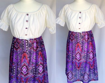 Vintage 70s 60s Hippie Gypsy Boho White Peasant Top Purple Pailey Patchwork Skirt Babydoll Mini Dress Small