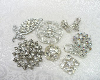 DESTASH - Vintage Rhinestone Lot - Brooches/Buttons Etc - No pins on Backs - repurpose vintage - silver tone metal - vintage rhinestone gift