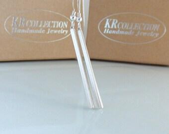 Long Silver Bar Earrings, Silver Bar Earrings, Sterling Silver Stick Earrings, Minimalist Earrings, Simple Earrings, Dangle Earrings