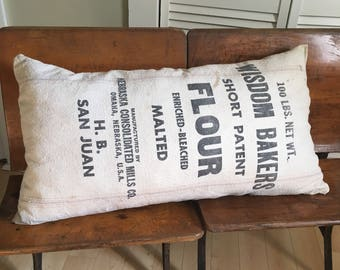 Vintage grain sack pillow/ Wisdom Bakeries/ FLOUR sack/farmhouse pillow/ 1940's/seed sack/ country/ antique/primitive