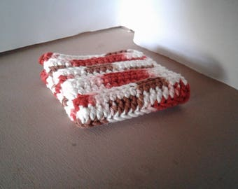 Handmade Crocheted Dish Cloth - Brown Rust White Dishcloth - Single Dishcloth