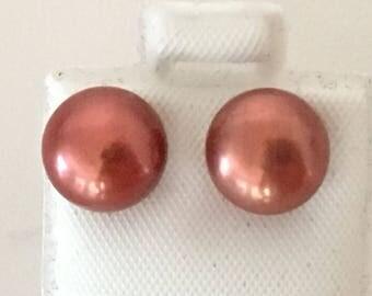 Honora Dusty Rose 8.5 mm Pearl Post Earrings 925 Sterling Silver  gw17-212