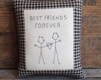 Best Friends Forever Pillow. Hand drawn. Hand-stitched. BFF Pillow. BFF Gift. Best Friend Gift. Hand Embroidery. Small Pillow.