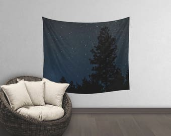 Star Tapestry Wall Hanging | Night Tapestry | Dark Wall Tapestry | Space Tapestry | Space Tapestries | Tapestry Forest | Navy Wall Hanging