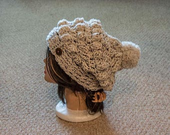 Crochet Aran Slouchy Hat, Women's Winter Hat
