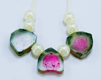 03 Damage Free Both Side Polished Watermelon Tourmaline drilled Slices ;Necklace  from Paprok Afghanistan  - 24 carats